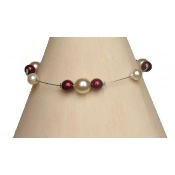 Bracelet perles ivoire et bordeaux BR1170A