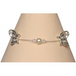 Bracelet papillon ivoire et cristal BR1174A