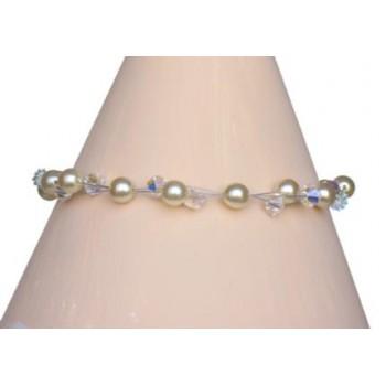 Bracelet mariage ivoire et cristal BR1179A