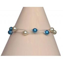 Bracelet perles ivoire turquoise BR1182A