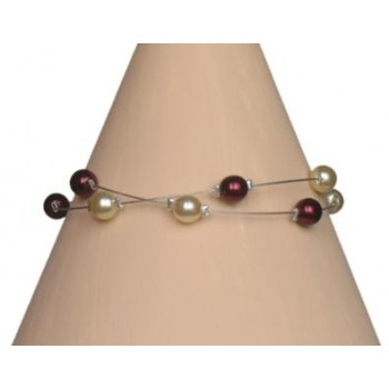 Bracelet perles ivoire et bordeaux BR1184A