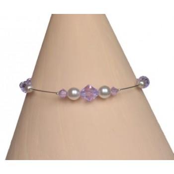 Bracelet perles blanc et cristal violet  BR1203A