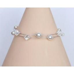 Bracelet mariage perles blanches et cristal BR1204A