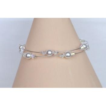 Bracelet mariage perles blanches et cristal BR1204B
