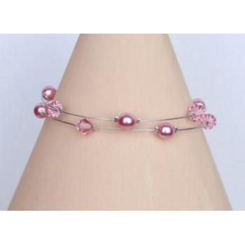 Bracelet mariage perles roses et cristal BR1205A