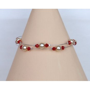 Bracelet mariage perles ivoire et cristal rouge BR1207A