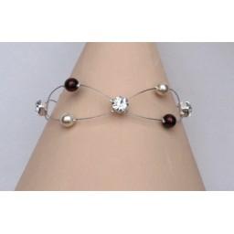 Bracelet mariage ivoire chocolat et strass BR1214A