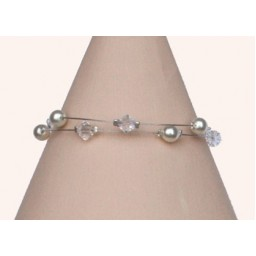 Bracelet mariage perles blanc cassé et cristal BR1215A