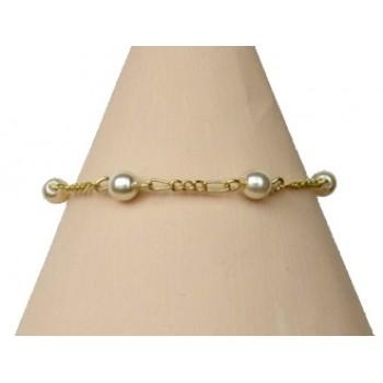 Bracelet perles ivoire et doré BR2029A