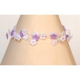 Bracelet fantaisie fleurs blanc et parmeBR4246A