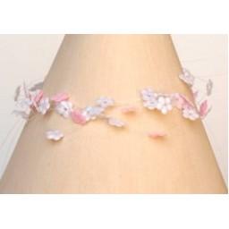 Bracelet fantaisie fleurs blanc et rose BR4247A