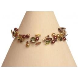 Bracelet fantaisie chocolat et doré BR4252A