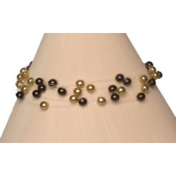 Bracelet perles chocolat et or BR4256Z