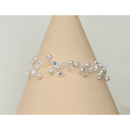 Bracelet blanc et cristal BR4272A