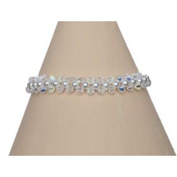 Bracelet blanc et cristal BR4274A
