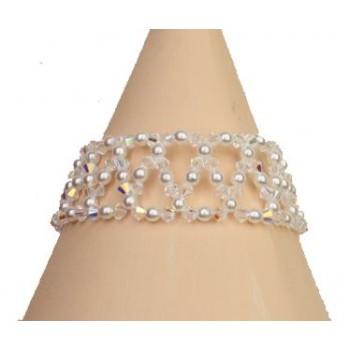 Bracelet mariage perles blanches et cristal BR4276A