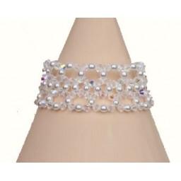 Bracelet mariage perles blanches et cristal BR4277A