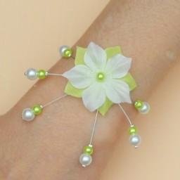 Bracelet mariage fleur blanc et vert anis BR1277A