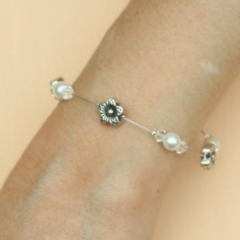 Bracelet mariage fleurs argent blanc BR1279A
