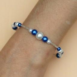 Bracelet mariage blanc bleu royal BR4289A