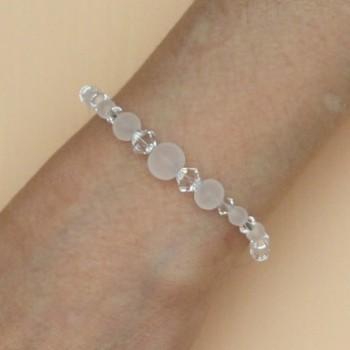 Bracelet mariage cristal de Swarovski et perles givrées BR4290A