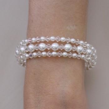 Bracelet mariage 3 rangs blanc cristal BR1260A