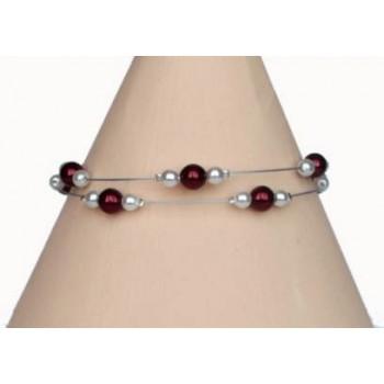 Bracelet mariage blanc et bordeaux BR1222A