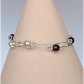 Bracelet mariage ivoire chocolat cristal BR1247A