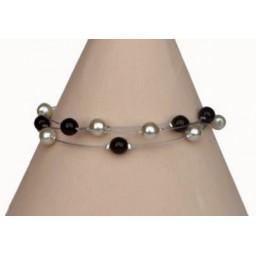 Bracelet mariage ivoire et noir BR1223A