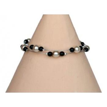 Bracelet mariage ivoire et noir BR1223B