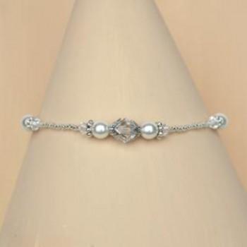 Bracelet mariage blanc cristal et argent BR4281A