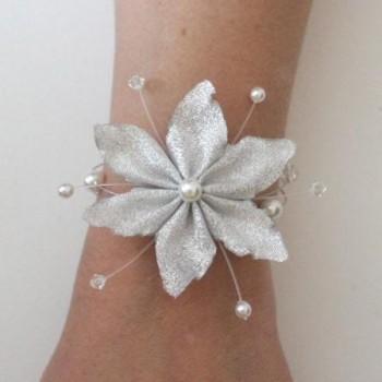 Bracelet blanc cristal fleur argent BR1253A