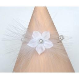 Bracelet mariage fleur plumes blanc BR1242A