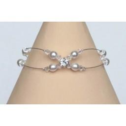 Bracelet mariage blanc cristal et strass BR1221A