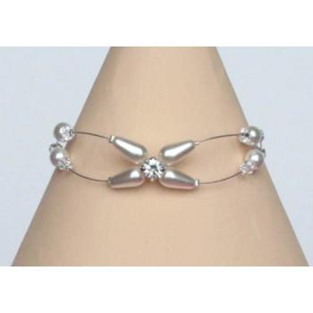 Bracelet mariage blanc cristal et strass BR1221B