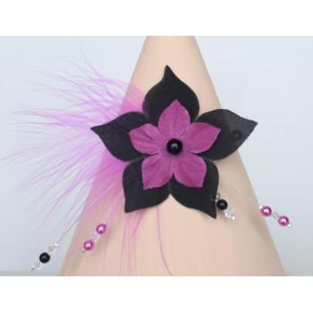 Bracelet mariage plume fleur noir et fuchsia BR1246A