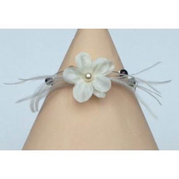 Bracelet mariage ivoire chocolat fleur plumes BR1217A