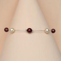 Bracelet mariage ivoire et bordeaux BR1251A