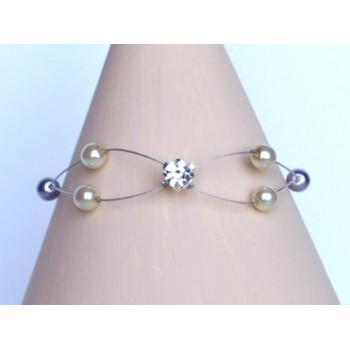 Bracelet mariage ivoire parme BR1226A