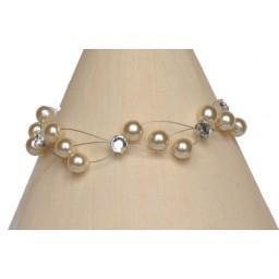 Bracelet mariage ivoire et strass BR3000A