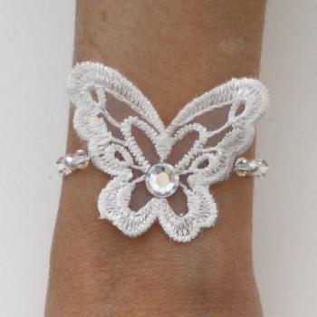 Bracelet mariage papillon blanc BR4282A