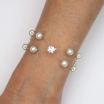 Bracelet mariage blanc et strass BR1276A