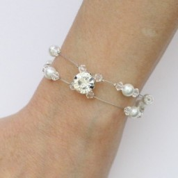 Bracelet mariage double rang blanc cristal strass BR1274A