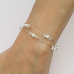 Bracelet mariage double rang blanc cristal strass BR1275A