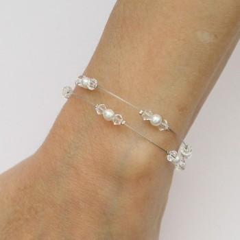 Bracelet mariage double rang blanc cristal  BR1275A