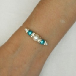 Bracelet mariage blanc turquoise strass BR4287A
