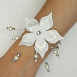 Bracelet mariage fleur blanc argent BR1270A