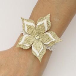 Bracelet mariage fleur blanche et or BR1272A