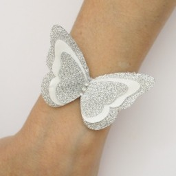 Bracelet mariage papillon blanc argent BR1271A