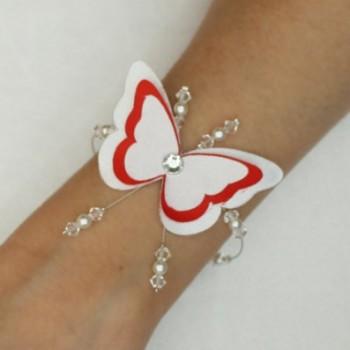 Bracelet mariage papillon blanc rouge BR1268A